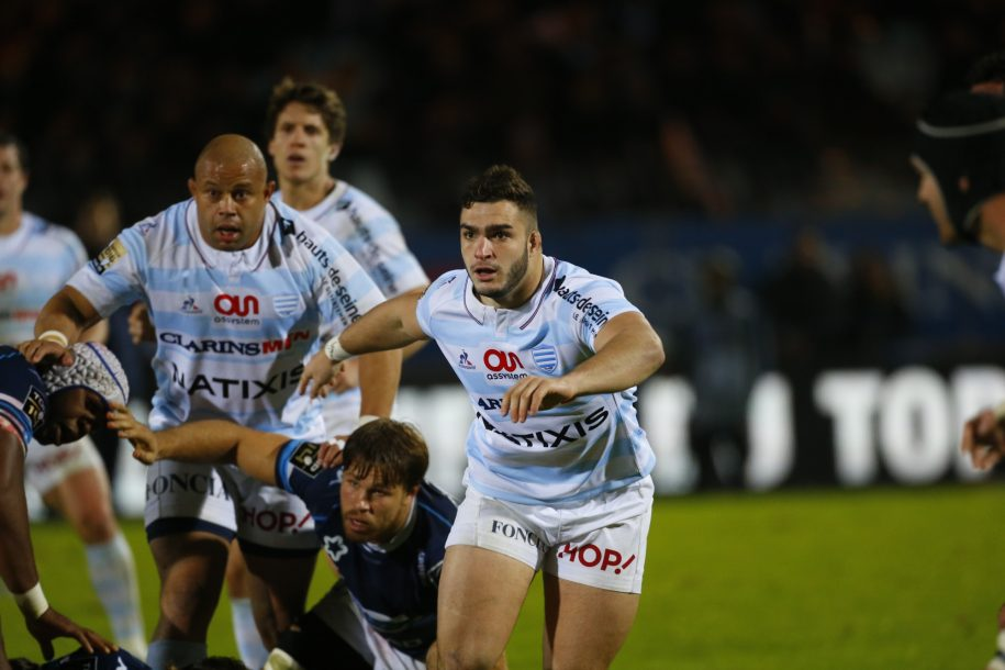 Teddy Baubigny avec les pros, lors du match R92 - Montpellier