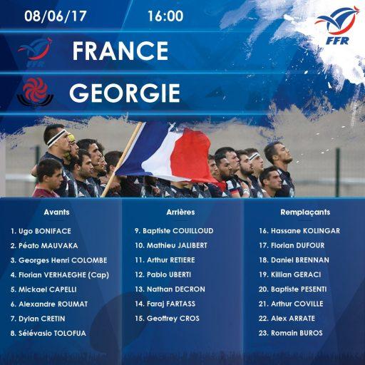 Composition de l'équipe de U20 pour affronter la Géorgie