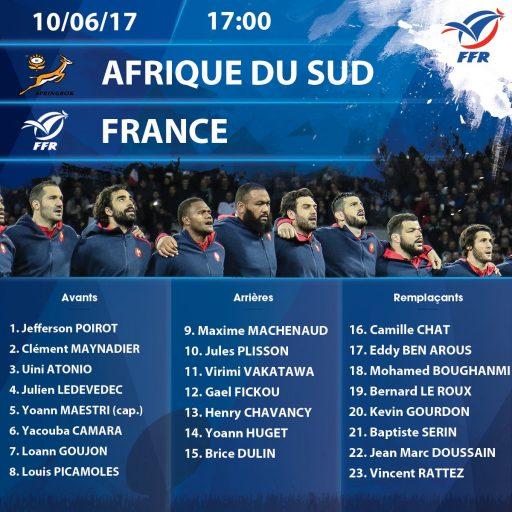 La composition de l'Equipe de France face à l'Afrique du Sud