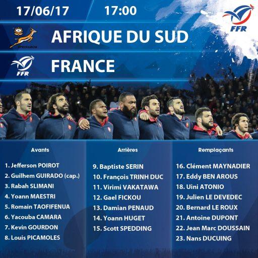 Composition du XV de France pour affronter les Springboks