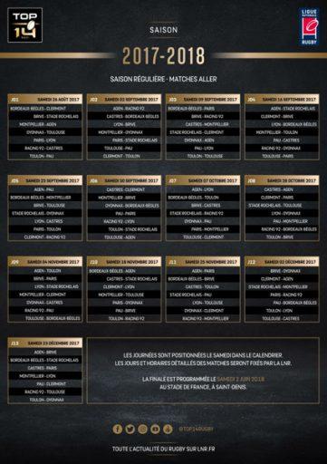 CALENDRIER TOP 14 - SAISON 2017 - 2018