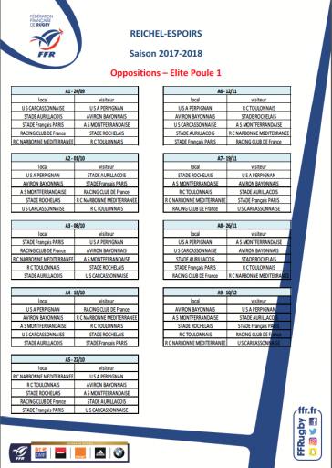 Calendrier espoir saison 2017-2018