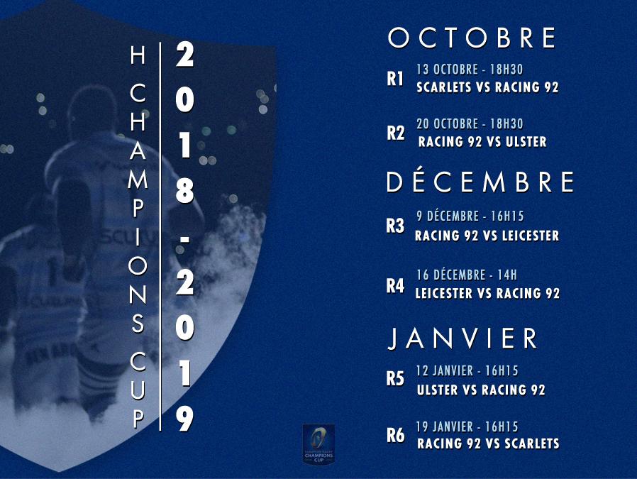 Calendrier H Cup.H Champions Cup Le Calendrier De La Saison 2018 2019