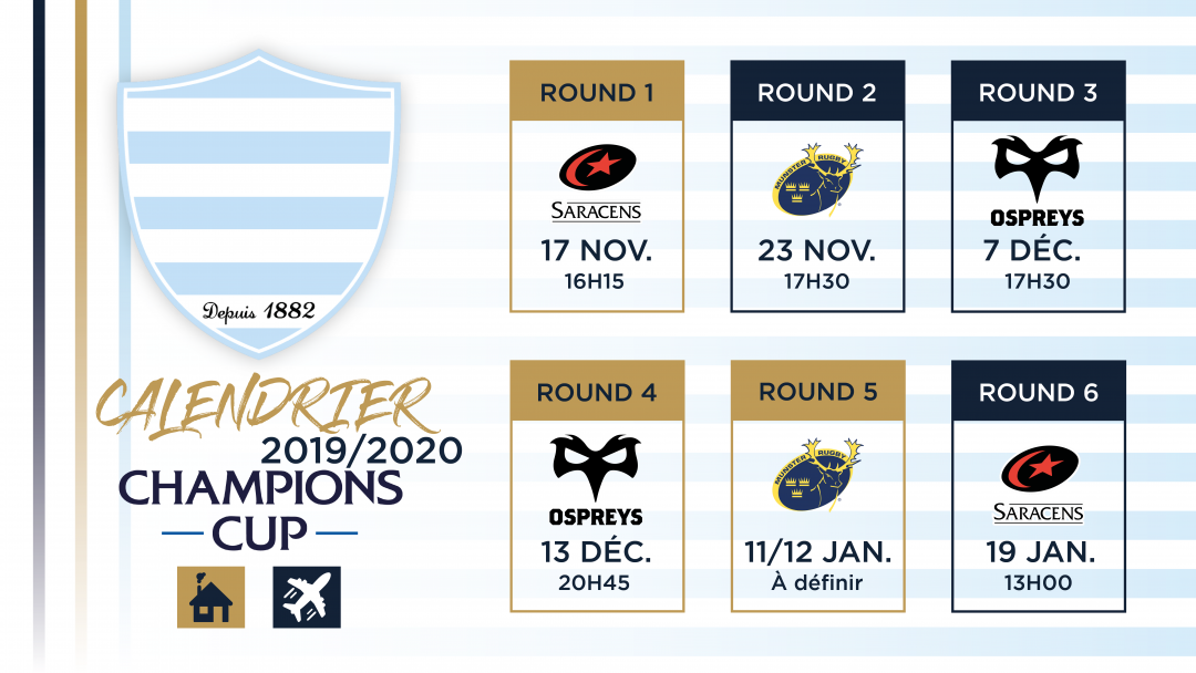 Calendrier Champions Cup 2019-2020