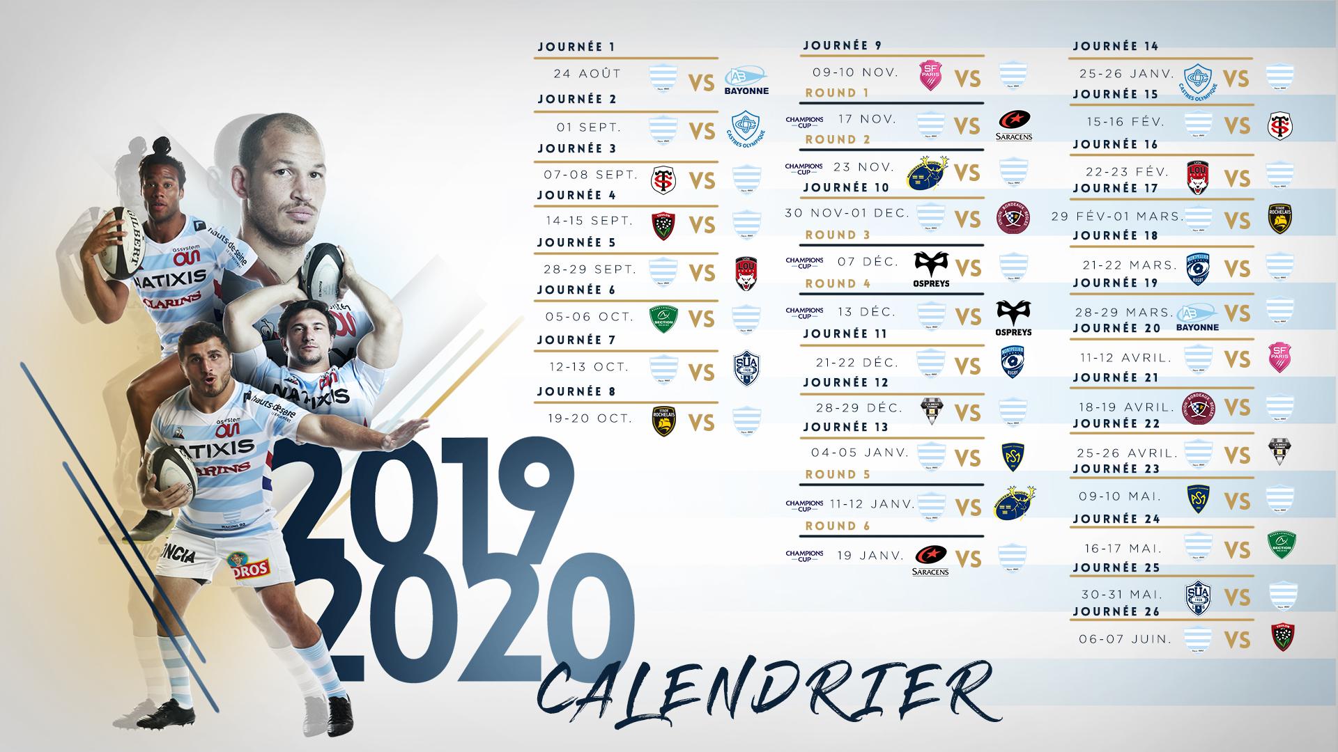 Calendrier Top 14 Saison 2020 2019.Saison 2019 2020 Le Calendrier Complet