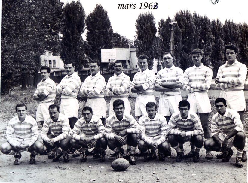 1963 : Rebujeant, Fournier, Comet, Conquet, Paillassa, Bourratiere, Blanc, Cazauboth, Lartigue, Ducamp, Moullian, Debet, Laborde, Bassagaits, Biescas, Premiere, Jean Bouin, Bayonne