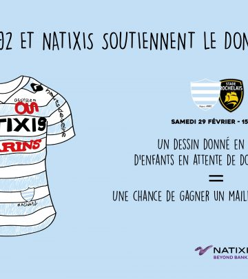 Natixis et le Racing 92 s'associent pour le don d'organes !